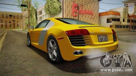 Audi R8 Coupe 4.2 FSI quattro US-Spec v1.0.0 for GTA San Andreas right view