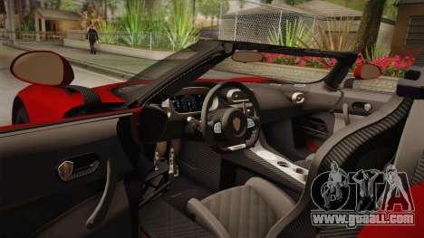 Koenigsegg Regera 2016 for GTA San Andreas inner view