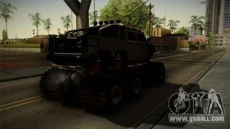 Hummer H2 6x6 Monster for GTA San Andreas back left view