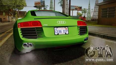 Audi R8 Coupe 4.2 FSI quattro EU-Spec 2008 for GTA San Andreas interior