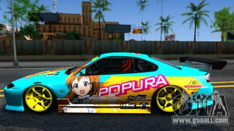 Taneshima Popura NISSAN Silvia S15 Itasha for GTA San Andreas left view