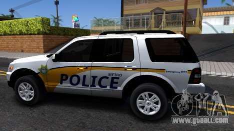 Ford Explorer Slicktop Metro Police 2010 for GTA San Andreas left view