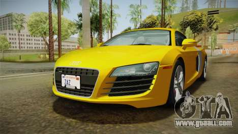 Audi R8 Coupe 4.2 FSI quattro US-Spec v1.0.0 for GTA San Andreas