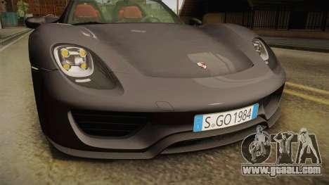 Porsche 918 Spyder 2013 Weissach Package EU for GTA San Andreas interior