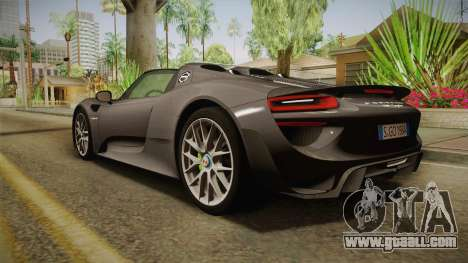 Porsche 918 Spyder 2013 Weissach Package EU for GTA San Andreas left view