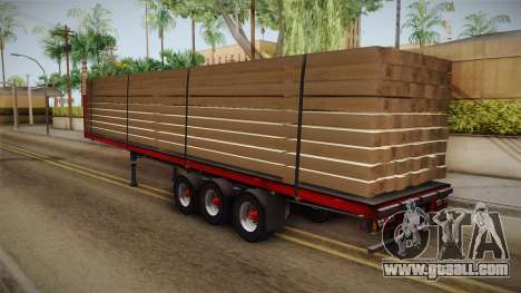 Flatbed Trailer Red for GTA San Andreas left view