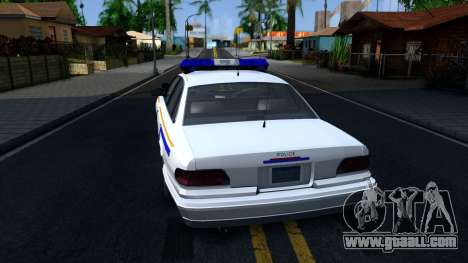 Vapid Stanier Hometown Police Department 2004 for GTA San Andreas back left view