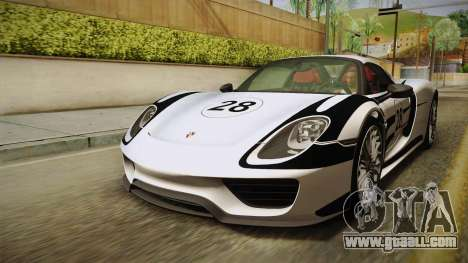 Porsche 918 Spyder 2013 Weissach Package EU for GTA San Andreas