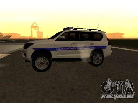 Toyota Land Cruiser Polise Armenian for GTA San Andreas back left view