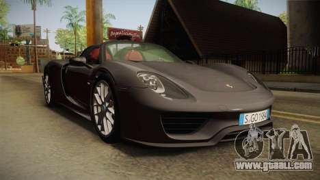 Porsche 918 Spyder 2013 Weissach Package EU for GTA San Andreas right view