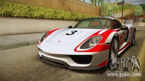 Porsche 918 Spyder 2013 Weissach Package EU for GTA San Andreas