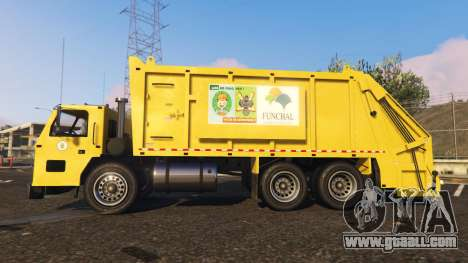 GTA 5 Portugal, Madeira Garbage Truck CMF Skin left side view