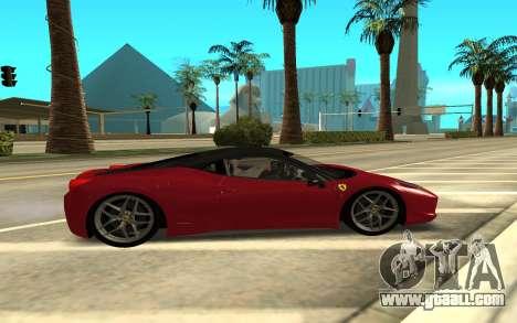Ferrari 458 Italia for GTA San Andreas left view