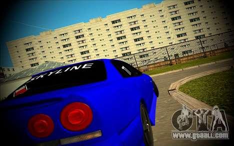 Nissan Skyline HR 34 for GTA San Andreas back view