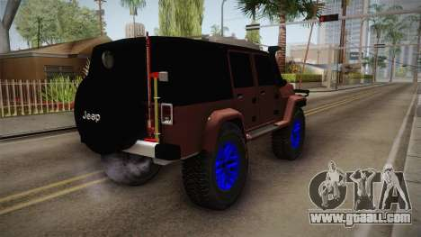 Jeep Wrangler 2012 for GTA San Andreas back left view