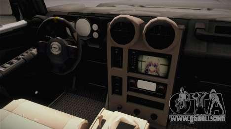 Hummer Wrangler H2 for GTA San Andreas inner view
