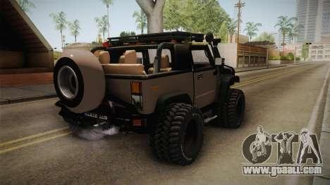 Hummer Wrangler H2 for GTA San Andreas back left view