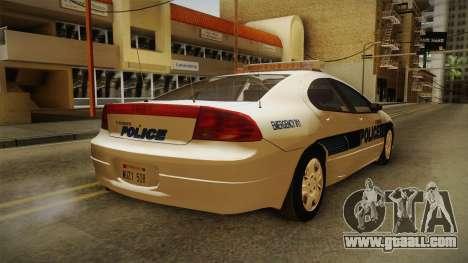 Dodge Intrepid 2001 El Quebrados Police for GTA San Andreas back left view