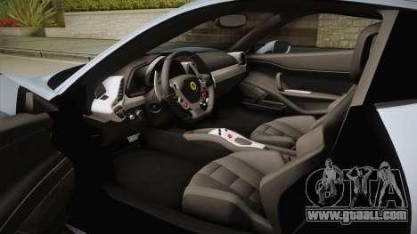 Ferrari 458 Italia FBI for GTA San Andreas inner view