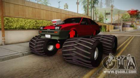 Toyota Corolla GT-S Monster Truck for GTA San Andreas back left view