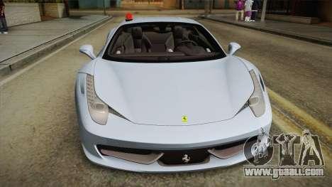 Ferrari 458 Italia FBI for GTA San Andreas right view