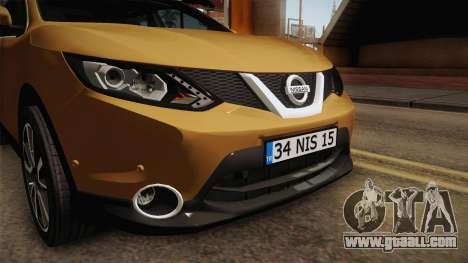 Nissan Qashqai 2016 IVF for GTA San Andreas upper view