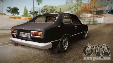 Toyota Corolla 1977 for GTA San Andreas back left view