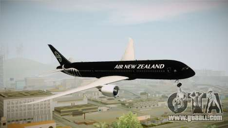 Boeing 787 Air New Zealand Black Edition for GTA San Andreas back left view