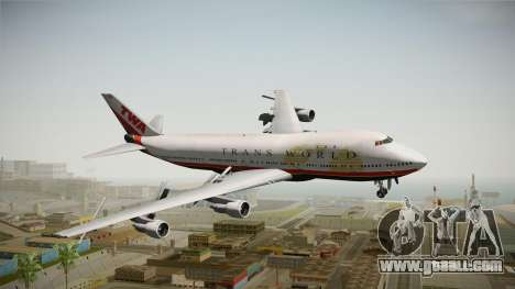 Boeing 747 TWA Final Livery for GTA San Andreas back left view