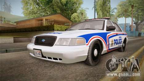 Ford Crown Victoria 2010 London, Ontario PD for GTA San Andreas back left view