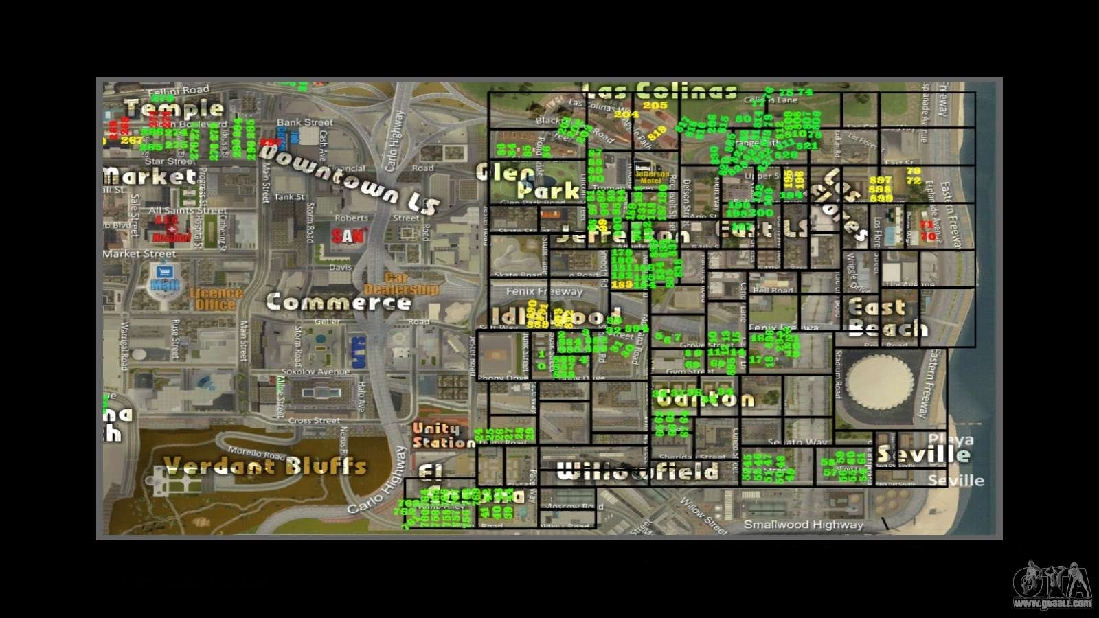 Map With Numbers Of Houses Arp For Gta San Andreas