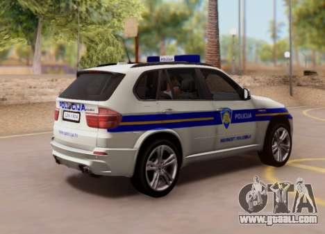 BMW X5 Croatian Police Car for GTA San Andreas back view