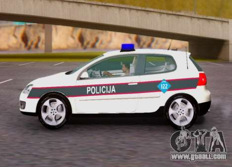Volkswagen Golf V BIH Police Car for GTA San Andreas back view