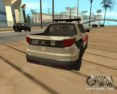 Fiat Toro Police Military for GTA San Andreas back left view