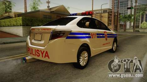 Toyota Vios 2014 Philippine National Police for GTA San Andreas right view