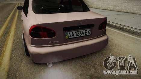 Daewoo Lanos Sedan 2001 for GTA San Andreas inner view
