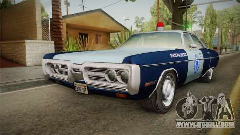 Plymouth Fury 1972 Massachusetts State Police for GTA San Andreas back left view
