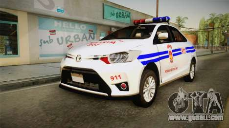 Toyota Vios 2014 Philippine National Police for GTA San Andreas back left view