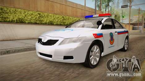 Toyota Camry Turkish Gendarmerie Traffic Unit for GTA San Andreas back left view