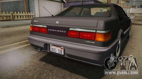 GTA 4 Dinka Hakumai Tuned Bumpers for GTA San Andreas upper view