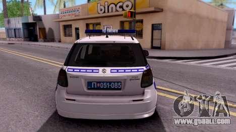 Suzuki SX4 Policija for GTA San Andreas back left view