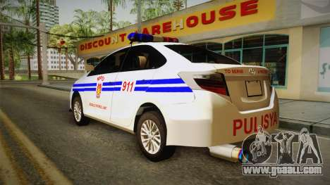 Toyota Vios 2014 Philippine National Police for GTA San Andreas left view