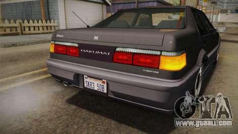 GTA 4 Dinka Hakumai Tuned Bumpers for GTA San Andreas bottom view