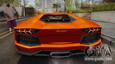 Lamborghini Aventador LP700-4 Stock for GTA San Andreas back view