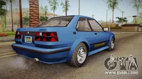 GTA 5 Karin Futo 4-doors IVF for GTA San Andreas left view