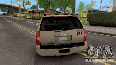 Chevrolet Tahoe Bayside Police Department 2010 for GTA San Andreas back left view