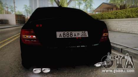 Mercedes-Benz C63 for GTA San Andreas back view