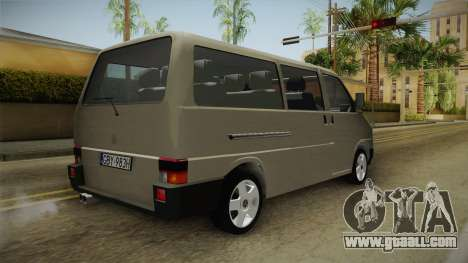 Volkswagen T4 1995 for GTA San Andreas back left view