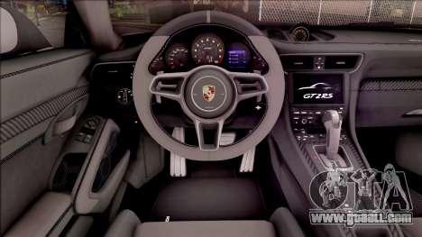 Porsche 911 GT2 RS 2017 EU Plate for GTA San Andreas inner view