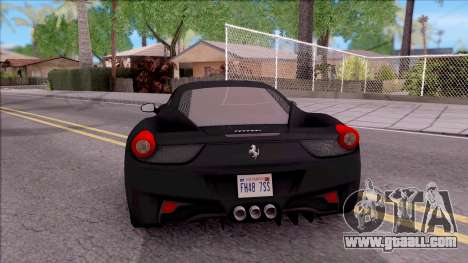 Ferrari 458 Italia Black for GTA San Andreas back left view